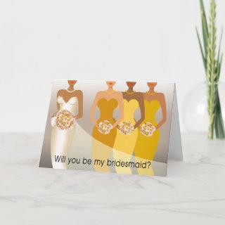 Will you be my Bridesmaid? Bridal Party   yellow Invitation