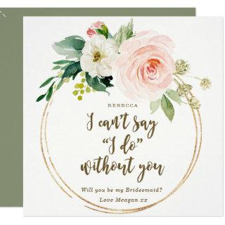 Will you be my bridesmaid card boho pink floral