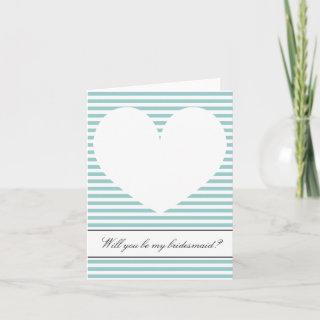 Will you be my bridesmaid card | Heart and stripes