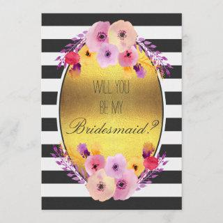 Will You Be My Bridesmaid Colorful Flowers on Gold Invitation