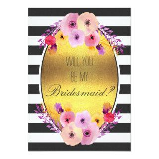Will You Be My Bridesmaid Colorful Flowers on Gold Invitations