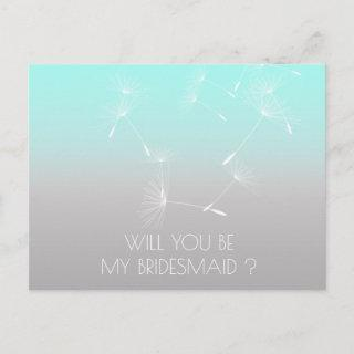 Will You Be My Bridesmaid Dandelion Mint Ombre Invitations Postcard