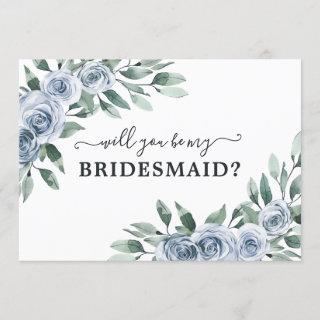 Will You Be My Bridesmaid Dusty Blue Floral Card