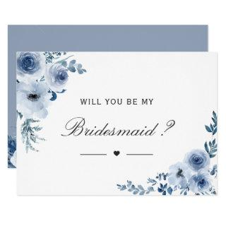 Will You Be My Bridesmaid Dusty Blue Floral Invitation