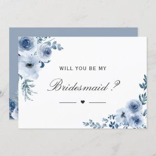 Will You Be My Bridesmaid Dusty Blue Floral Invitations