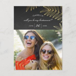 Will You Be My Bridesmaid | Elegant Gold Leaf Invitations Postcard
