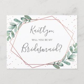 Will You Be My Bridesmaid Eucalyptus Geometric Invitations Postcard