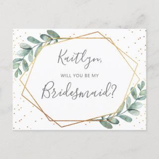 Will You Be My Bridesmaid Eucalyptus Geometric Invitation Postcard