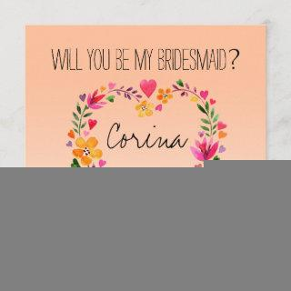 Will You Be My Bridesmaid Flowers Heart Wreath
