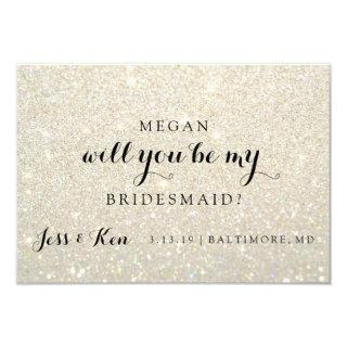 Will You Be My Bridesmaid - Glit Fab -WhiteGold Invitations