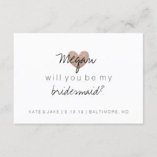Will You Be My Bridesmaid-Glitter Heart's Fab Rose Invitations