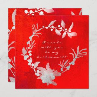 Will You Be My Bridesmaid Gray Silver Red Wreath Invitations