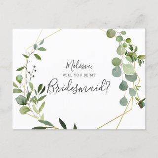 Will You Be My Bridesmaid Greenery Eucalyptus Invitations Postcard