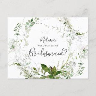 Will You Be My Bridesmaid Greenery Sketch Foliage Invitations Postcard