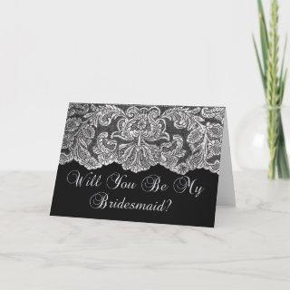 will you be my bridesmaid lace black and white invitation