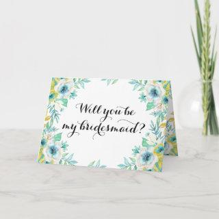 Will You Be My Bridesmaid Modern Vintage Floral Invitations