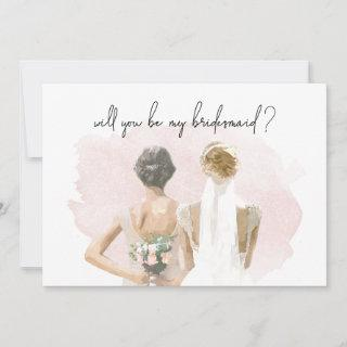 Will You Be My Bridesmaid Proposal Pink Watercolor