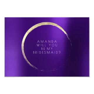 Will You Be My Bridesmaid Purple Plum Gold Minimal Invitations