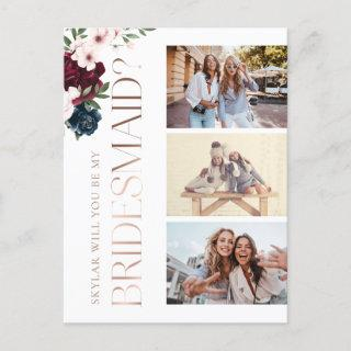 Will You Be My Bridesmaid Red & Navy Florals Photo Invitations Postcard