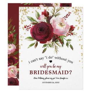 Will you be my Bridesmaid | Rustic Burgundy Blush Invitations