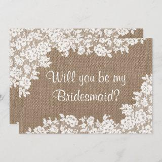 Will You Be My Bridesmaid? Rustic Burlap & Lace Invitations