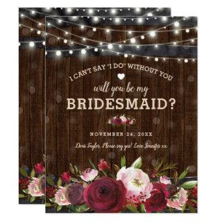 Will you be my Bridesmaid | Rustic Country Barrel Invitations