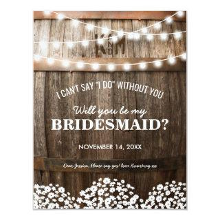 Will you be my Bridesmaid | Rustic Country Chic Invitations