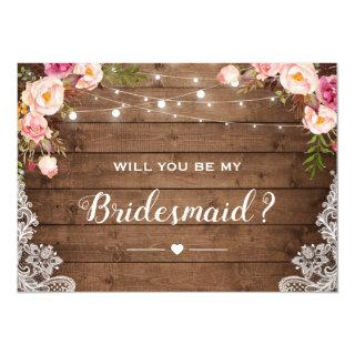 Will You Be My Bridesmaid Rustic Floral Lace Invitations