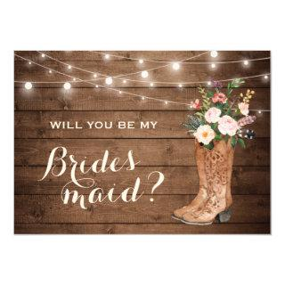 Will You Be My Bridesmaid Rustic Girl Boots Floral Invitations