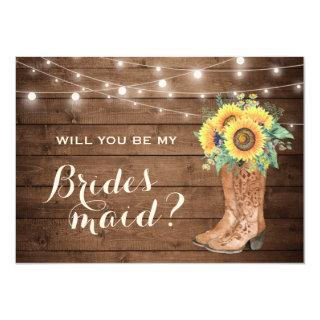 Will You Be My Bridesmaid Rustic Girl Boots Floral Invitation