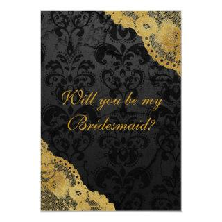 Will You Be My Bridesmaid? Rustic Gold Black Lace Invitation