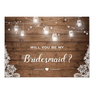 Will You Be My Bridesmaid Rustic Mason Jar Lights Invitation
