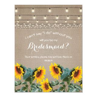 Will you be my Bridesmaid | Rustic Sunflower Invitation