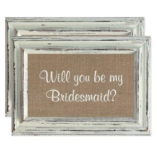 Will You Be My Bridesmaid Rustic White Frame Cards