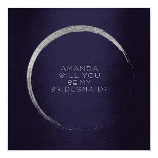Will You Be My Bridesmaid Silver Circle Navy Invitations