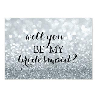 Will You Be My Bridesmaid - Silver Glitter Fab Invitations