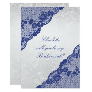 Will You Be My Bridesmaid? Silver Navy Blue Lace Invitation