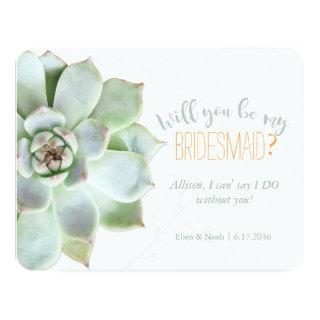 Will You Be My Bridesmaid Succulent Wedding Invitations