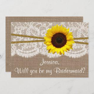 Will You Be My Bridesmaid? Sunflower Rustic Burlap Invitations