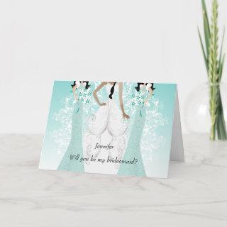 Will you be My Bridesmaid? Teal Invitations