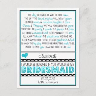 Will you be my Bridesmaid? Turquoise/Black Poem V2