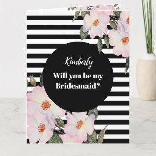 Will you be my Bridesmaid Watercolor Roses Stripes Card