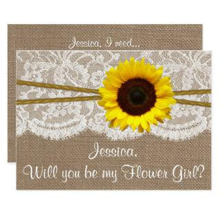 Will You Be My Flower Gir? Sunflower Rustic Burlap Invitation