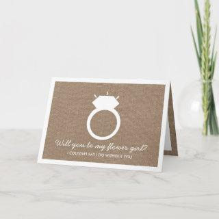 Will You Be My Flower Girl? Burlap Ring Card