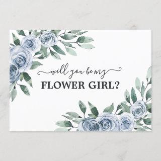 Will You Be My Flower Girl Dusty Blue Floral Card