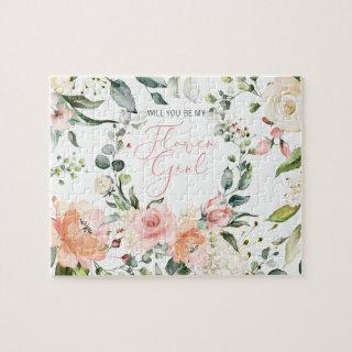 Will You Be My Flower Girl Pink Floral Script Jigsaw Puzzle