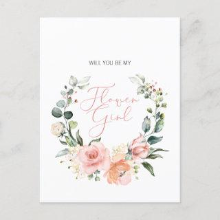 Will You Be My Flower Girl Pink Script Floral Invitation Postcard
