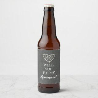 Will You Be My Groomsman Beer Bottle Label
