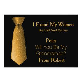Will You Be My Groomsman Gold & White Tie Invitation