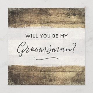 Will You Be My Groomsman Rustic Wood Farm Wedding Invitations